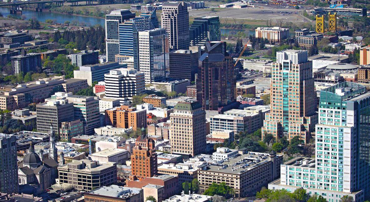 Aerial Downtown Sacramento